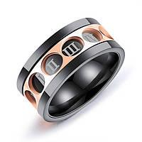 """Мужское кольцо из стали """"Соты"""" с римскими цифрами, р. 20.5, фото 1"""