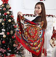 Женский  платок с цветами красного цвета (120х120см, красный, 80%-шерсть), фото 1