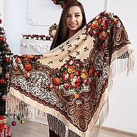 Нежный женский платок с бахрамой (110х110см, 80%-шерсть, бежевый)
