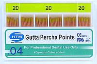 Gutta percha points №20 04 HTM (штифты гуттаперчивые № 20 конусность 04)