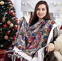 Женский белый платок с цветами (120х120см, белый, 80%-шерсть), фото 1