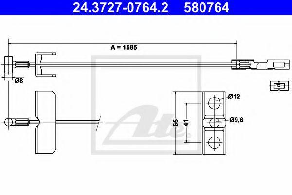 Трос ручного тормоза центральный на Renault Trafic  2001-> (длинная база)  —  ATE (Германия) - 24.3727-0764.2