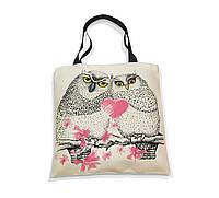 """Эко-сумка с черной ручкой """"Влюбленные совы"""", фото 1"""