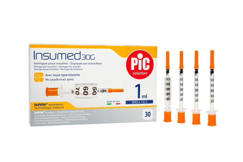 Шприцы для инсулина Insumed PIC 1 мл с иглой 30G х 8 мм