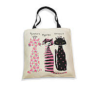 """Эко-сумка с черной ручкой """"Симпатичные котики"""", фото 1"""