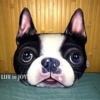 Подушка подголовник для авто с качественным 3 D принтом собаки.
