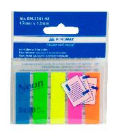 Закладки пластиковые neon 45x12мм, 5х20л., jobmax, ассорти bm.2301-98