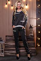 Женский трикотажный брючный костюм размеры от 44 до 50, трикотаж ангора, чёрный с люрексом
