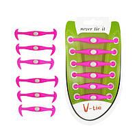 Силиконовые шнурки Dawdler Latchet Фиолетовые для обуви, набор 12 шт