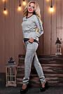 Женский брючный костюм р. от 44 до 50, трикотаж ангора с люрексом, серый, фото 3