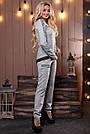 Женский брючный костюм р. от 44 до 50, трикотаж ангора с люрексом, серый, фото 4