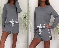 2 в 1- Комплект: Шорты + Кофта- Женский костюм CALVIN KLEIN (Кельвин Кляйн) Хлопок - ПОДАРОК для девушки :)