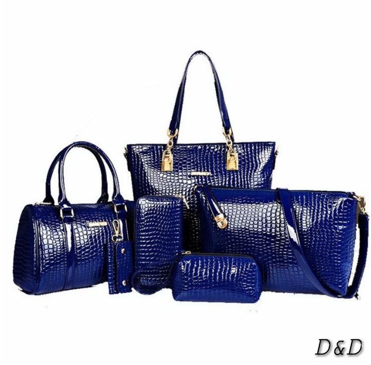 Набор женских сумок 6в1, в синем цвете