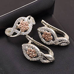 Серебряный набор с золотыми вставками, кольцо размер 19 + серьги 24*13 мм