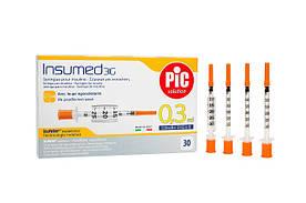 Инсулиновые шприцы  Insumed PIC  0,3 мл с иглой 30G х 8 мм