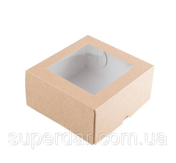 Коробка для кусочков торта, пирожных и др. изделий 165Х165Х80 мм., крафт, с окошком