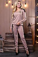 Женский трикотажный брючный костюм, с гипюром и вышивкой, ангора, персиковый, размеры 42-48
