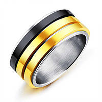 Мужское кольцо из стали с подвижными золотыми и титановыми ободами, р. 19, 20, фото 1