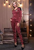 Женский трикотажный брючный костюм, с гипюром и вышивкой, ангора, марсала, размер 44