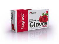 Рукавички нітрилові, рожеві Fiomex, premium - 100 шт/уп, M, фото 1