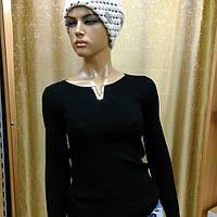 Кофта женская вязанная с мысиком, цвет черный, фото 1