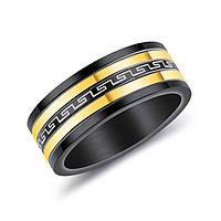 Мужское кольцо из стали с греческим орнаментом, фото 1