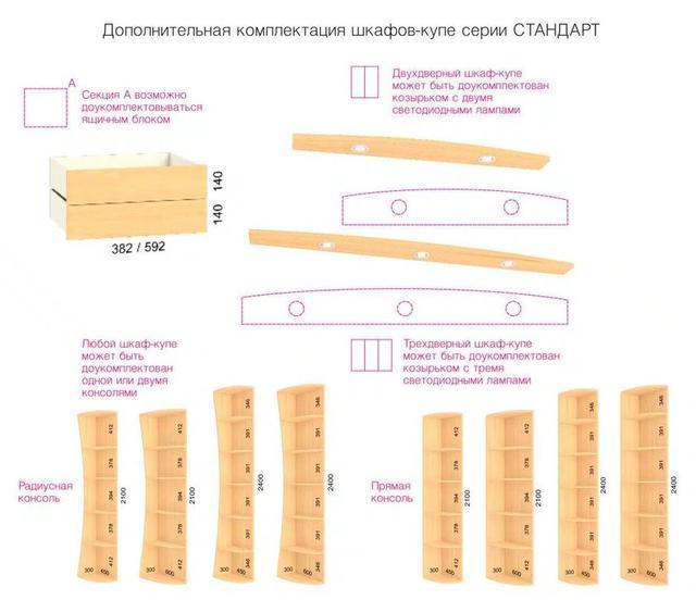 Шкаф-купе Стандарт (дополнительная комплектация)