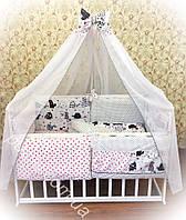 Комплект детского постельного в кроватку премиум класса 9 в 1 с котами, детское постельное белье оптом