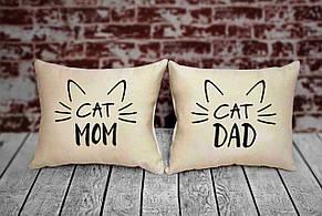 """Набор из двух подушек №71 """"Cat mom and cat dad"""""""