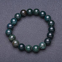 Браслет натуральный камень Агат моховый гладкий шарик на резинке d-10мм обхват 18 см