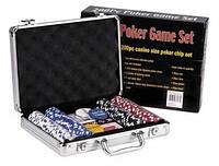 Покерный набор в алюминиевом кейсе (200 фишек с номинал,2 кол. карт,5куб, р-р кейса 30*21*6,5см)