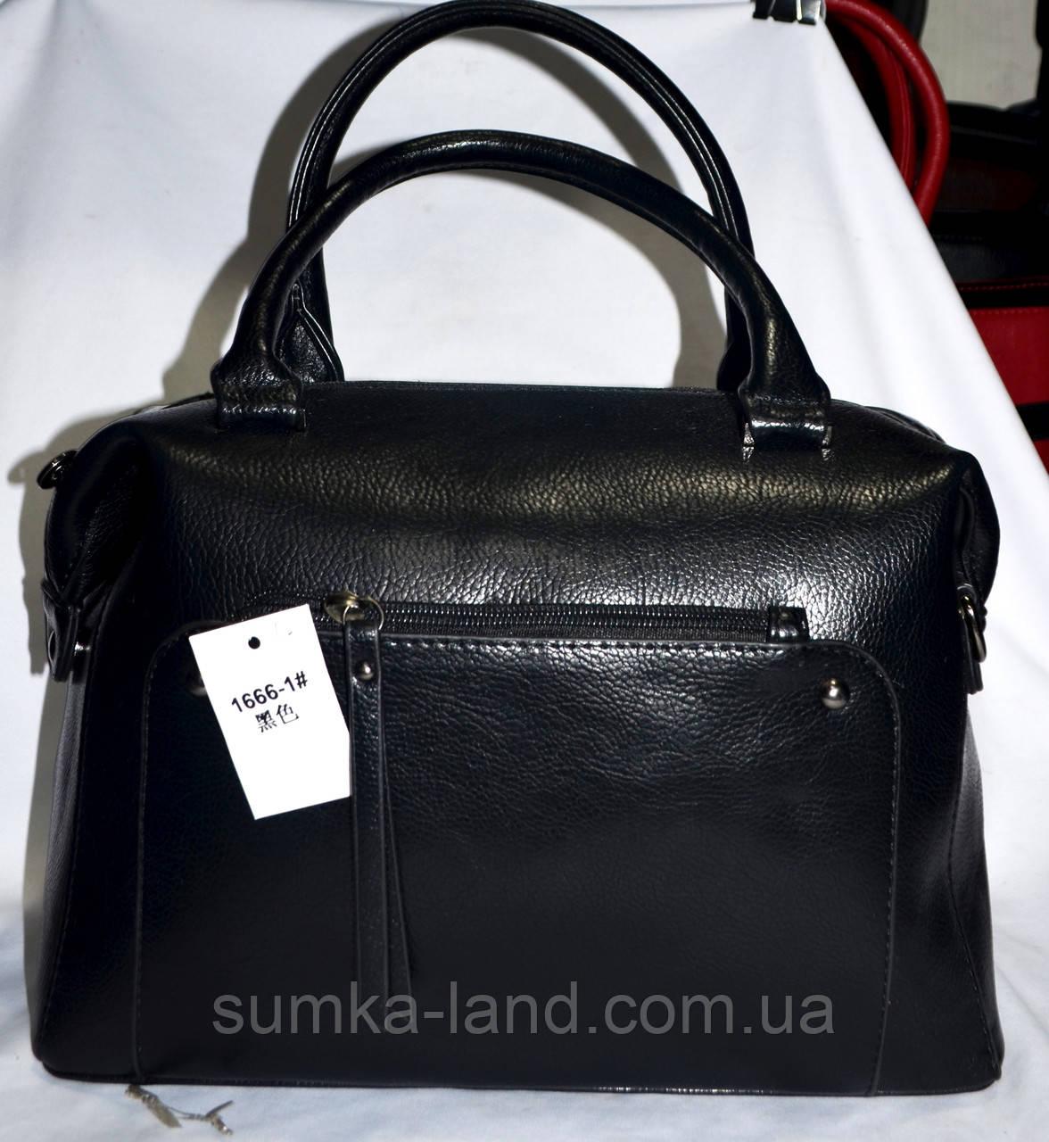 Женская черная сумка с длинным ремешком на 1 отделение 33*22 см