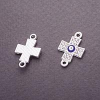 """Коннектор """"Крест"""" глаз синяя эмаль серебристый металл в стразах 1,2х1,8см"""