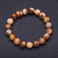 Браслет натуральный камень Яшма пейзажная гладкий шарик на резинке d-10мм обхват 18 см