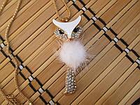 Стильный кулон Лисичка №2 с натуральным мехом белая