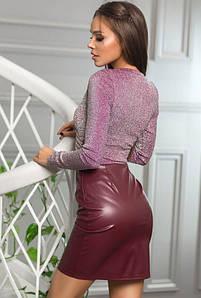 Бордовая юбка из экокожи  -ВАЛЕНТАЙН-