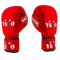 Перчатки боксерские кожаные профессиональные Velo (AIBA) (10-12oz, красный)