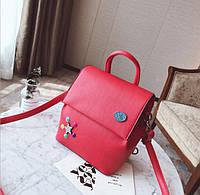 Рюкзак кожаный городской красный