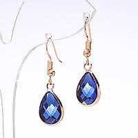 Серьги капли с синими кристаллами в золотистой оправе L-3,5см d-10х18мм