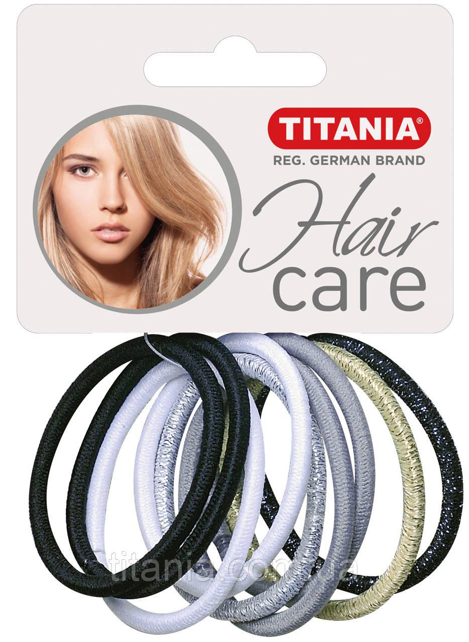 Зажим для волос эластичный, 9 шт., разноцветный, 4 см TITANIA 7819