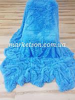 Плед покрывало травка 220х240 Koloco исскуственный мех ярко голубое