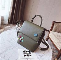 Стильный рюкзак для девочек оливковый