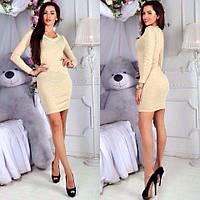 Женское короткое платье с люрексом (расцветки)