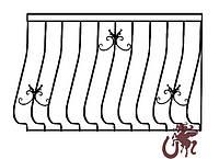 Изготовление кованого ограждения для балкона по шаблону GB-02