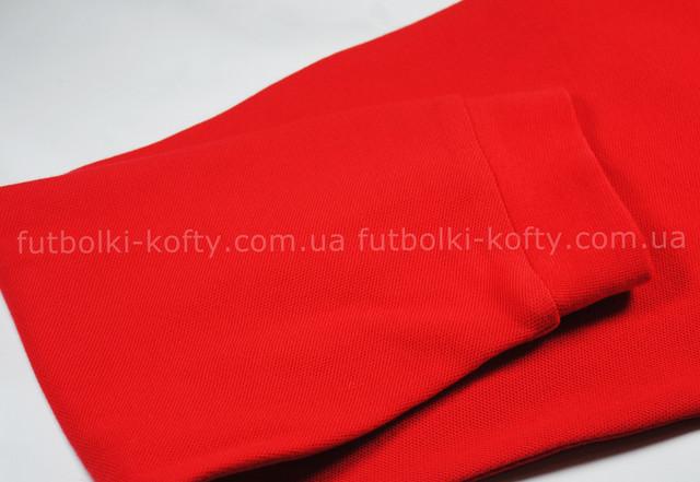 Красное мужское поло з длинным рукавом 100% хлопок