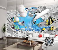 """3D фотообои """"Морские рыбы"""""""