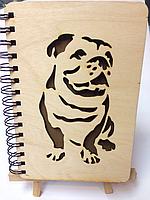 Блокнот с деревянной обложкой (Собака) 100л., фото 1