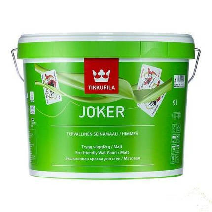 Акрилатная моющаяся шелковисто-матовая краска для стен Джокер (Joker), Тиккурила (Tikkurila), А, 9л, фото 2