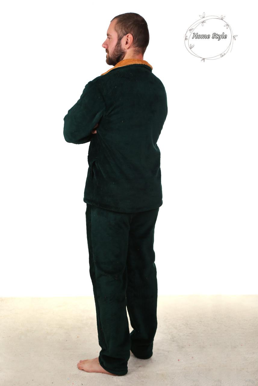 Теплая  пижама из материала софт зеленого цвета