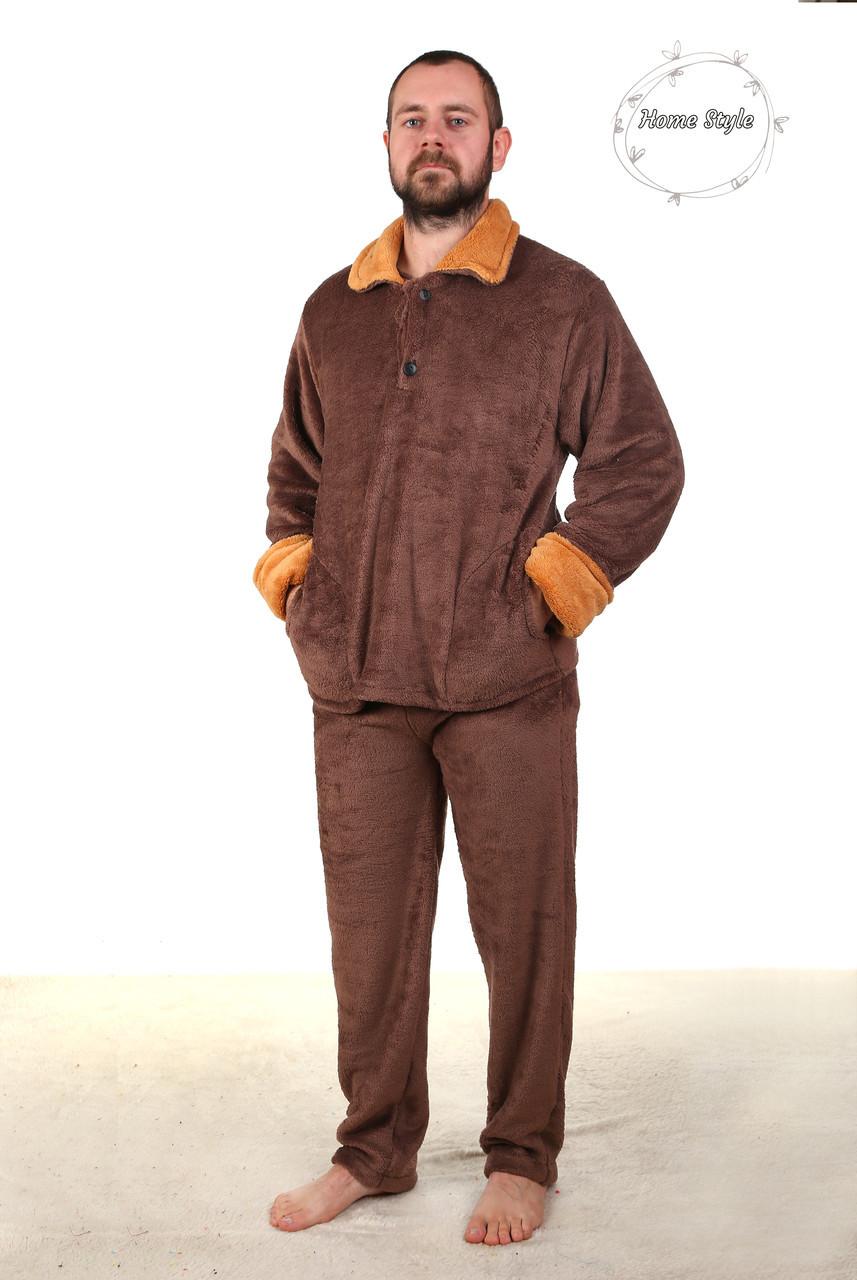 Качественная махровая пижама из материала софт коричневого цвета